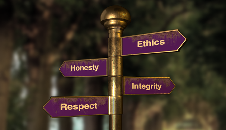 "The figure shows a signpost that has four signs pointing in different directions indicating ""Ethics,"" ""Integrity,"" ""Honesty,"" and ""Respect."""