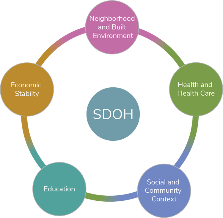 The figure represents the social determinants of health (SDOH) by showing one main circle surrounded by five circles that are connected with a single line. The main circle represents SDOH and the five circles represent key areas of SDOH. Starting at the top and moving clockwise, the five circles represent the key areas of neighborhood and built environment, health and health care, social and community context, education, and economic stability.